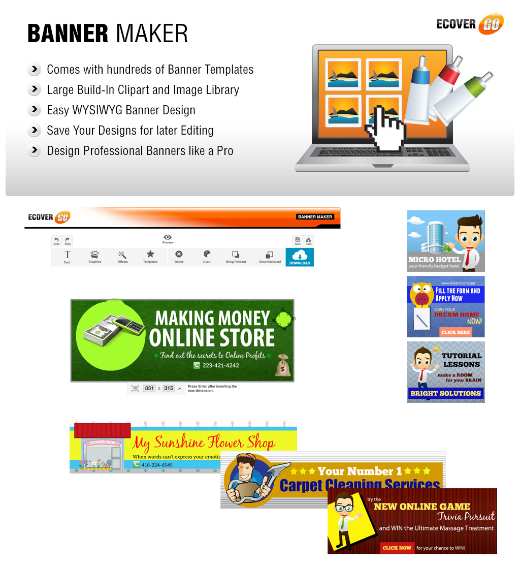 banner maker ecover go online graphics suite