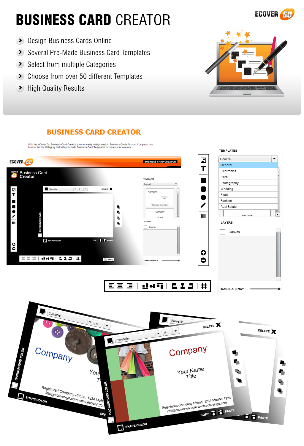 Business Card Creator - eCover Go - Online Graphics Suite